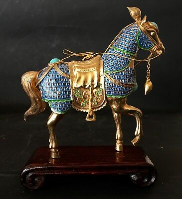 Exquisite Chinese Gilt Silver Enamel Horse On Stand, Tested Silver.