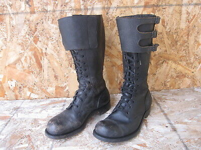 WWII WW2 Military Motorcycle Riding British 3-Buckle Boots Sz UK8F/US9 Black Lea