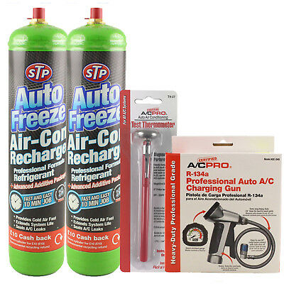 STP RE-CHARGE Car Air Con Top Up Kit charge Refill R-134a A/C Gauge Professional