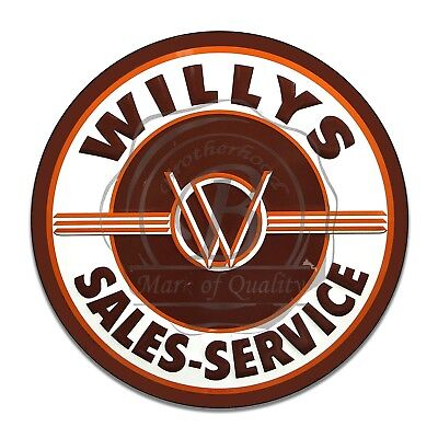 Willys Sales and Service Jeep Reproduction Circle Aluminum Sign