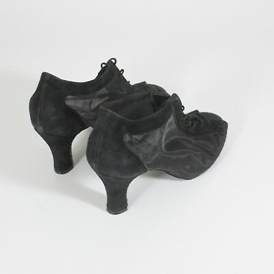 """Elegance Ballroom Latin DANCE SHOES Black Suede and Mesh 2.5"""" flare heal Size 8"""