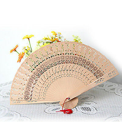 KF_ Vintage Folding Fan Chinese Traditional Bamboo Wooden Fragrant Hand Fan Ey