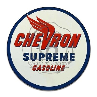 Chevron Supreme Gasoline Gas Oil Products Reproduction Circle Aluminum Sign