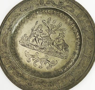 17th CENTURY BAGPIPES & DOG Antique ENGRAVED PEWTER DISH