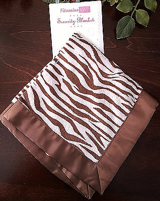 Vitamin Baby Girl Lovey Security Blanket Pink Brown Zebra Animal Print Satin NWT