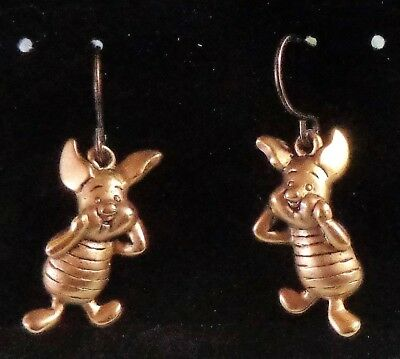 Vintage Disney Piglet Dangle Earrings From Winnie The Pooh Gold Tone Dimensional