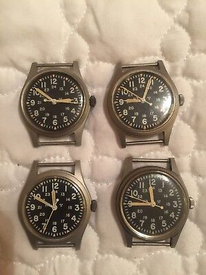 Lot Of 4 Hamilton H3 Vintage US Military Watch MIL-W-46374B 1982 Great Working