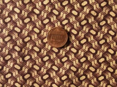 ~Back In Time Textiles~Antique Civil War Era Brown basket weave pattern fabric