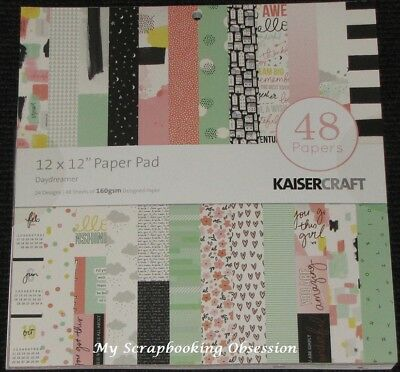 "Kaisercraft 'DAYDREAMER' 12x12"" Paper Pad 48 Sheets (24 Designs x2) Girly KAISER"