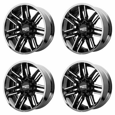 4x Moto Metal 20x12 MO202 Wheels Gloss Black Machined Chrome 8x6.5 8x165.1 -44mm
