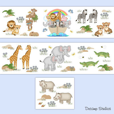 Noahs Ark Nursery Wallpaper Border Decals Wall Art Baby Safari Animals Stickers