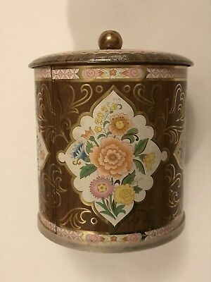 Vintage Decorative DAHER Metal Tin Container Lid Floral Design Made in England