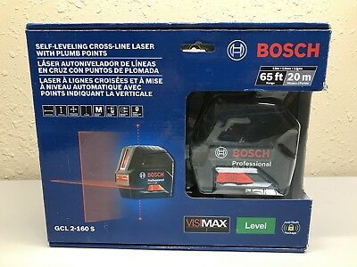 BOSCH GCL 2-160s Self-Leveling Cross-Line Laser with Plum Points / 65ft 20m NEW