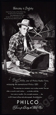 1947 Bing Crosby vintage print ad Philco 1201 record player - easy slide-in
