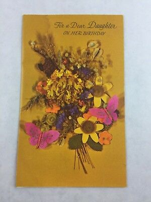 Vintage Daughter Birthday Card Rustic Bouquet Rust Craft New Made In USA