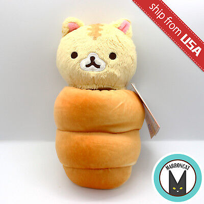 Japan San-X Corocoro Coronya Brown Cat in Bread Stuffed Animal Plush Doll Kawaii