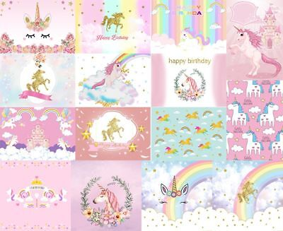 Baby Birthday Party Cute Cartoon Unicorn Photography Background Props Backdrops