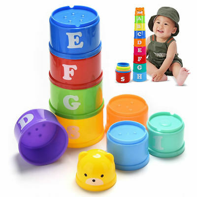 1Set 9 in1 Baby Children Educational Toy Figures Letters Folding Cup Stack Cup