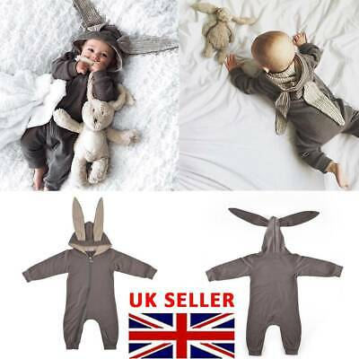 Newborn Baby Girl Boy Rabbit 3D Ear Romper Jumpsuit Bodysuit Outfits Clothes new