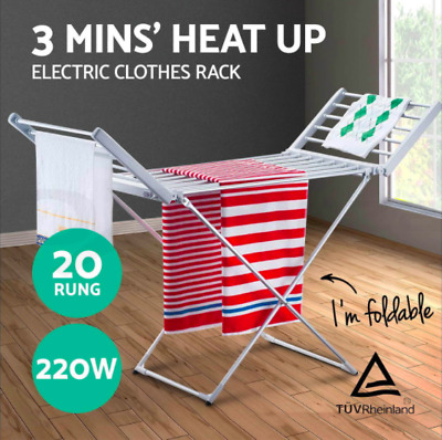 20 Heated Towel Rail Airer Hanger Laundry Rack 50 - 55°C Electric Clothes Dryer