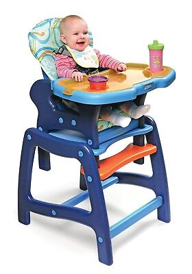 Envee Infant Baby High Chair with Convertible Playtable Blue/Orange NEW
