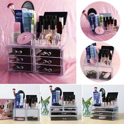 Beauty 4 Drawer Acrylic Cosmetic Organizer Makeup Case Jewelry Storage Holder