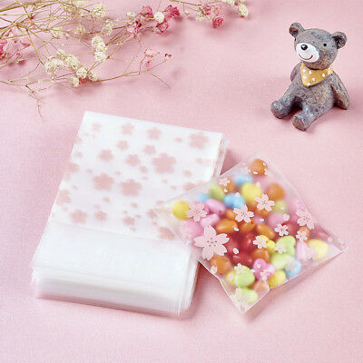 95~100pc Pink Flower OPP Cello Bags Top Self-Adhesive Jewellery Packing 100x69mm