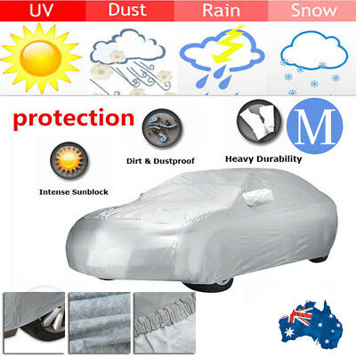 100% Waterproof Full Car Cover 2 Layer Heavy Duty Breathable UV Protection Msize