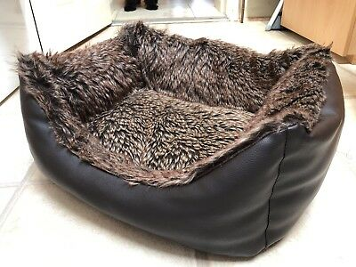 Small Brown Dog Bed (Faux Fur lined and Faux Leather Outer) from Pets At Home