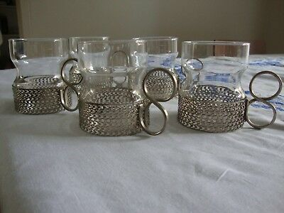 Stunningly beautiful glass and silver coffee cups