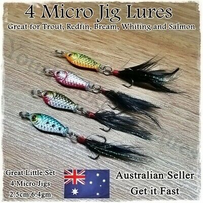 4 Micro Jig Fishing Lures Bait Tackle Small Spinner Spoon Freshwater Trout Lures