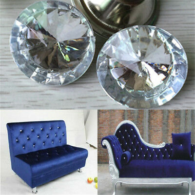 30mm Sparkly Large Rhinestone Diamond Crystal Charm Upholstery Sew On Button