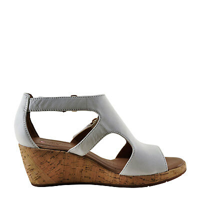 c809793ee6c CLARKS SIZE 8.5 M   39.5 Women s Pewter Metallic Thong Raffia Wedge ...