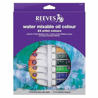 Reeves Water Mixable Oil Colours - 24 x 10 ml Tube Set