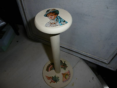Vintage wooden millinery stand hat stand Annie Sloan paint and decoupage