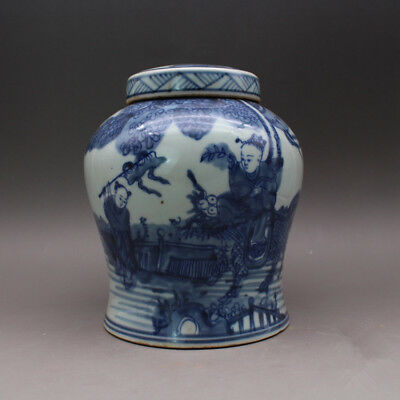 China antique porcelain Qing Blue & white Kylin Songzi lid jar pot Tea canister