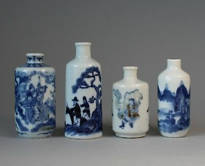 Group of Antique Chinese Blue and White Porcelain Snuff Bottles