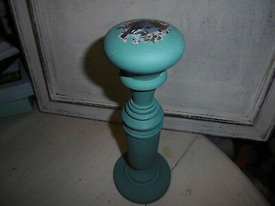 Vintage wooden millinery stand hat stand painted turquoise Annie Sloan paint