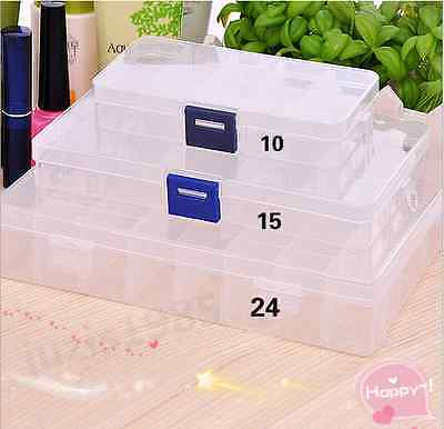 101524 PLASTIC CLEAR Storage Box Case Jewelry Bead Screw Organizer