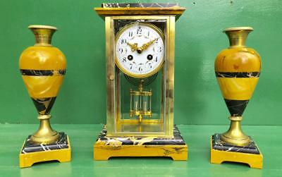 Classic French Art-Deco 8 Day Sienna And Portoro Marble Garniture Clock Set