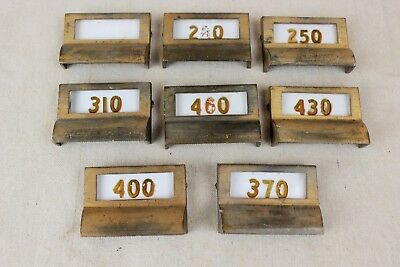 Lot of 8 Vintage Post Office Solid Brass Drawer Pulls W/ Original Glass Windows