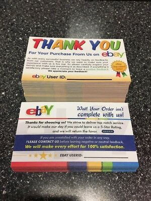 250 Ebay Thank You Seller Feedback Business Cards 5 Star Review