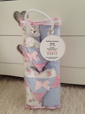 Vintage Love & Kisses Toys/ baby R Us Curtains blue, pink floral polka dot heart