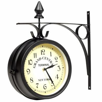 New Home Art Deco Two Sided Retro Vintage Style Cream Black Station Wall Clock