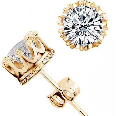 Plating Alloy & Crown Design Zircon Ear Piercing Golden Stud Earrings