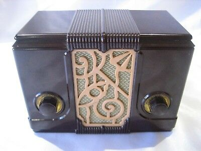 Rare Vintage Walnut Brown Bakelite Catalin Art Deco Style Tube Radio Untested
