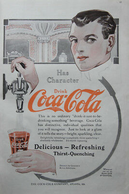 Large Vintage 1913 Coke Coca Cola Ad Arrow Has Character Soda Jerk Dillon Art