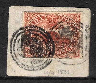 CANADA  1851 SC#1 CV2000$ PART of COVER USED  STAMP COLLECTION RARE