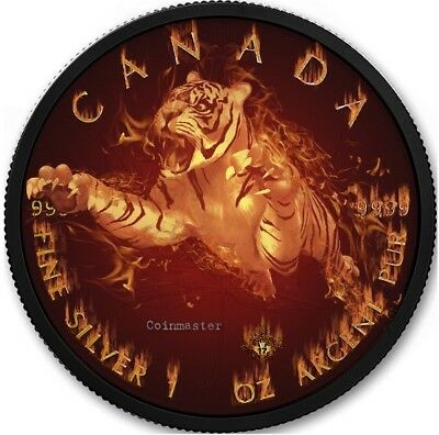 2017 1 Oz Silver BURNING TIGER WILDLIFE Coin, Ruthenium N GOLD.