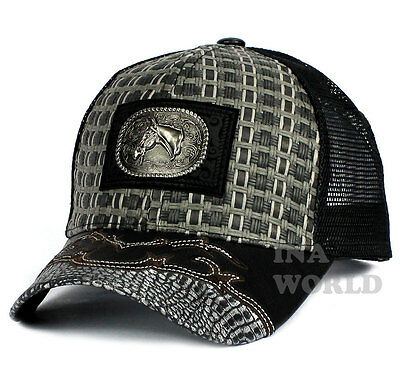 696a3aec360 Straw Woven hat HORSE patched Mesh Trucker Snapback Western Baseball cap-  Gray